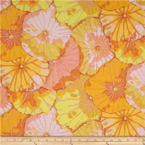 Kaffe Fassett Lotus Leaf Yellow - Per Quarter Metre.